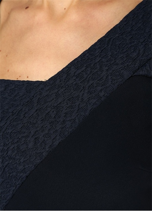 Elsom Lacivert Asimetrik Yaka Streç Midi Elbise