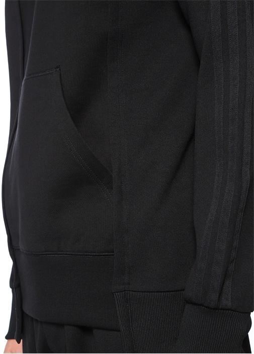 Siyah Bisiklet Yaka Şerit Detaylı Sweatshirt