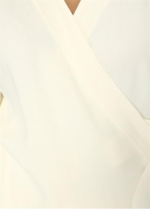 Ekru Anvelop Yaka Kuşaklı Krep Bluz