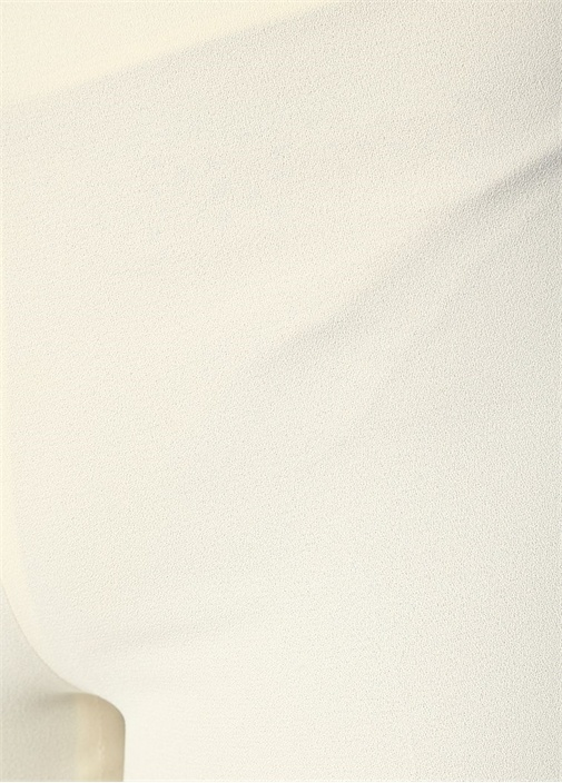 Ekru Normal Bel Bol Paça Krep Pantolon