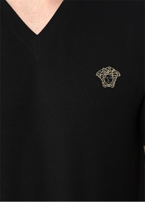 Siyah V Yaka Gold İşlemeli Basic T-shirt
