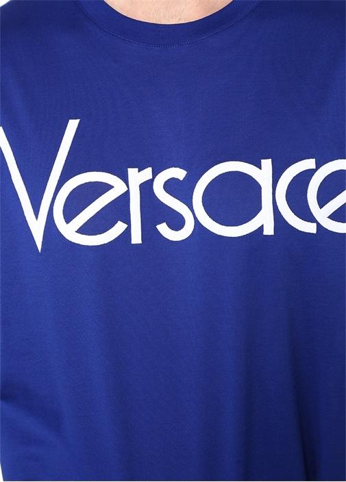 Vintage Lacivert Bisiklet Yaka Logolu T-shirt
