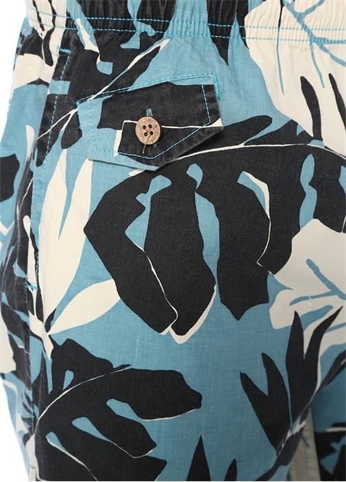 Leaf Mavi Çiçek Desenli Cepli Şort