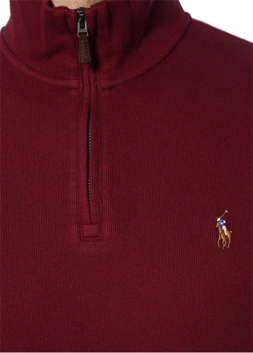Bordo Yakası Fermuarlı Dokulu Sweatshirt