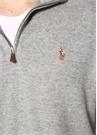 Gri Dik Yaka Logo Nakışlı Sweatshirt