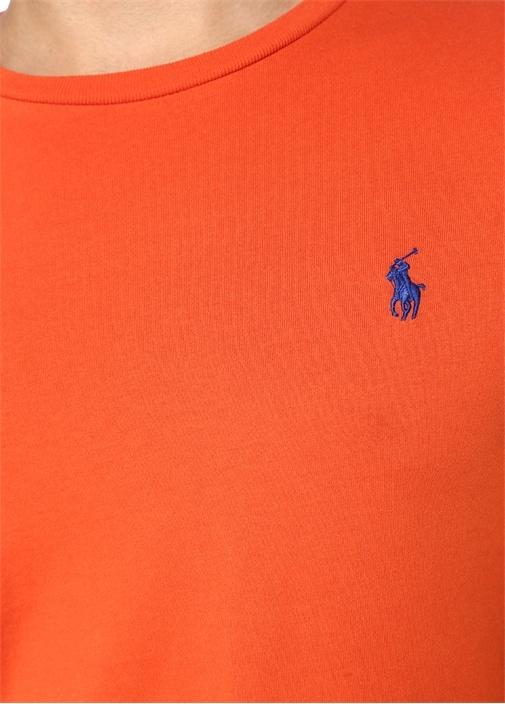 Custom Slim Fit Turuncu Logolu Basic T-shirt
