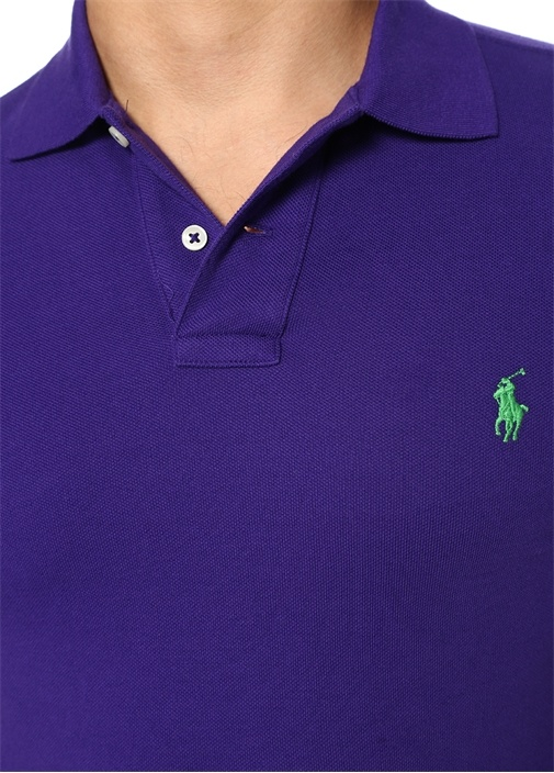 Slim Fit Mor Logo Nakışlı Polo Yaka T-shirt