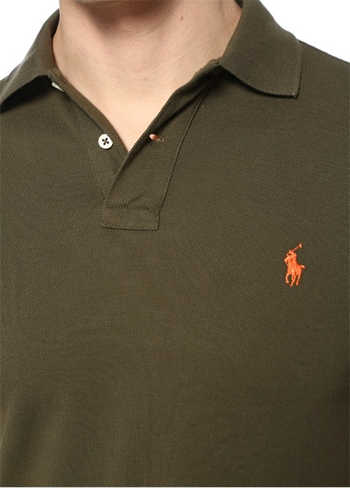 Slim Fit Haki Polo Yaka Dokulu T-shirt