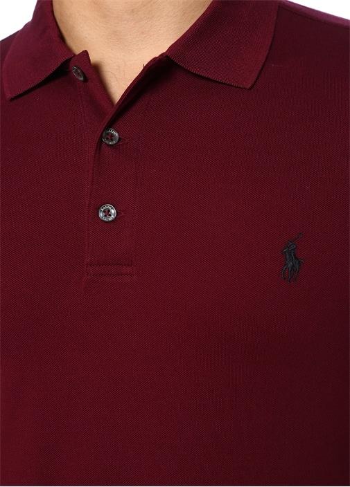 Slim Fit Bordo Logo Nakışlı Polo Yaka T-shirt