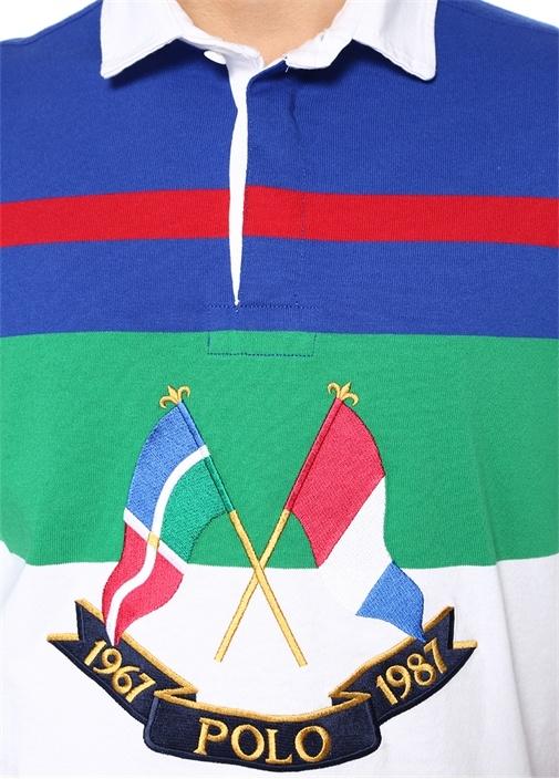 Classic Fit Çizgili Polo Yaka Uzun Kollu T-shirt