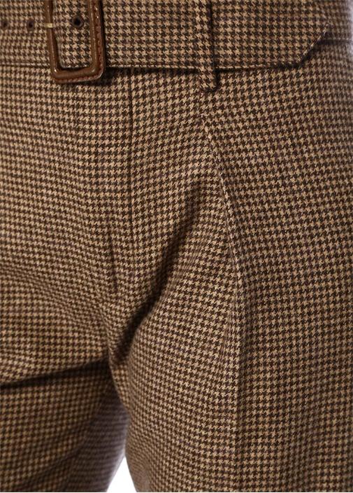 Kahverengi Yüksek Bel Kemerli Yün Pantolon