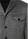 Gri Melanj Kelebek Yaka Düğmeli Ceket