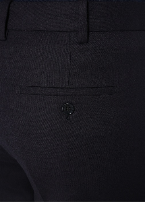 Lacivert Paçaları Lastikli Yün Pantolon