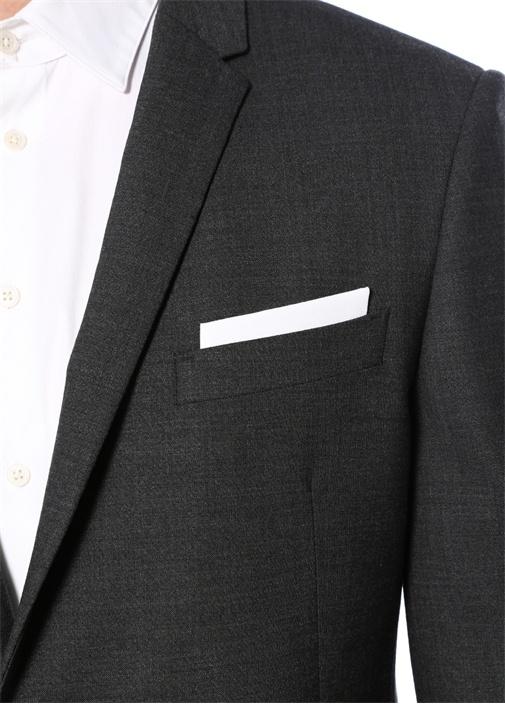 Slim Fit Antrasit Dokulu Takım Elbise