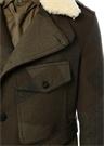 Slim Fit Haki Desenli Yaka Detaylı Yün Palto