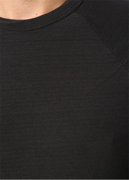 Antrasit Bisiklet Yaka Uzun Kollu T-shirt