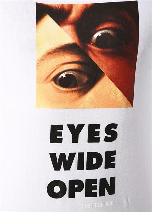 Slim Fit Beyaz Göz Yazı Baskılı Basic T-shirt