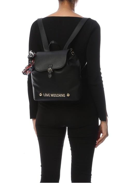 Siyah Fiyonk Detaylı Logolu Kadın Sırt Çantası
