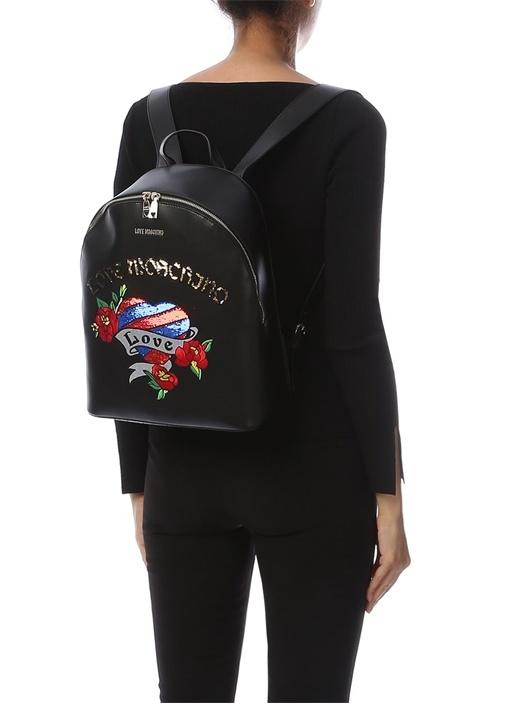 Siyah Logo İşlemeli Kadın Sırt Çantası