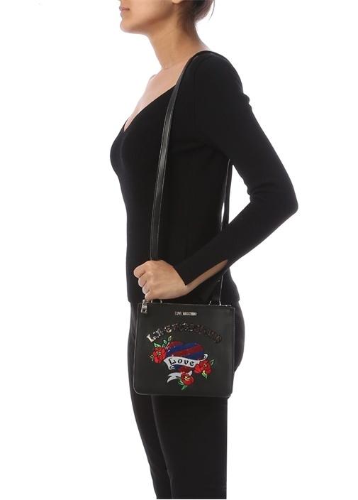 Siyah Logo İşlemeli Kadın Çanta