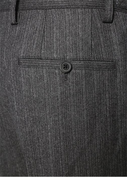 Gri Çizgili Çıtçıt Detaylı Yün Pantolon
