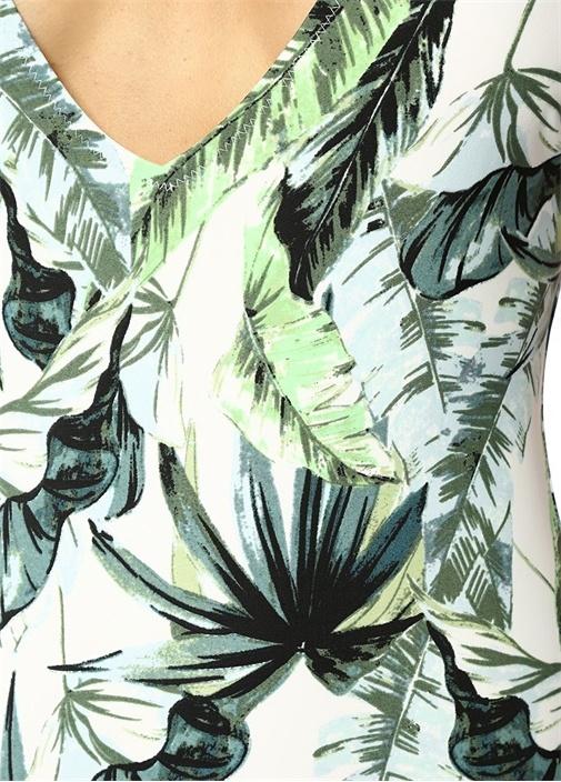Palm Fringed Beyaz Sırtı Bağcıklı Mayo