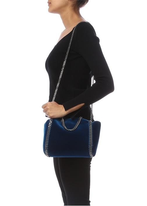 Fababella Mavi Kadife Dokulu Kadın Çanta