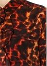 Leopar Desenli Asimetrik Fırfırlı İpek Gömlek
