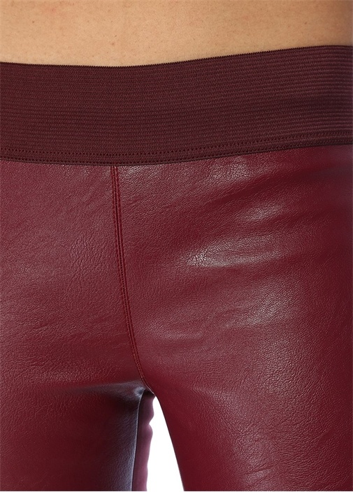 Bordo Paçaları Fermuar Detaylı Pantolon