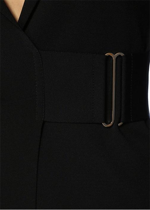 Siyah Kelebek Yaka Triko Dokulu Ceket