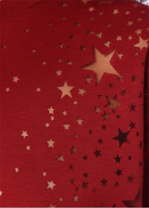 Bordo Transparan Yıldız Detaylı T-shirt