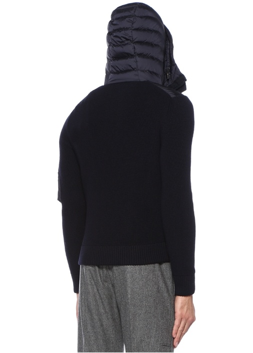 Lacivert Kolları Triko Detaylı Ceket