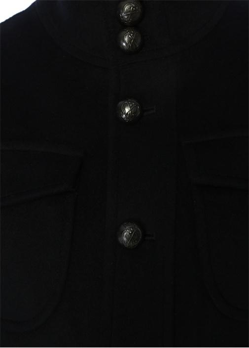 Drop 8 Lacivert İşlemeli Düğmeli Yün Dış Ceket