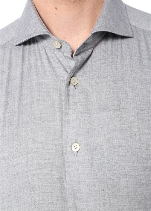 Drop 2 Gri Kesik Yaka Gömlek