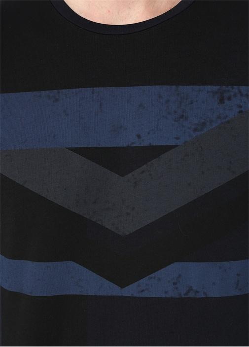 Siyah Mavi Bisiklet Yaka Şeritli Basic T-shirt
