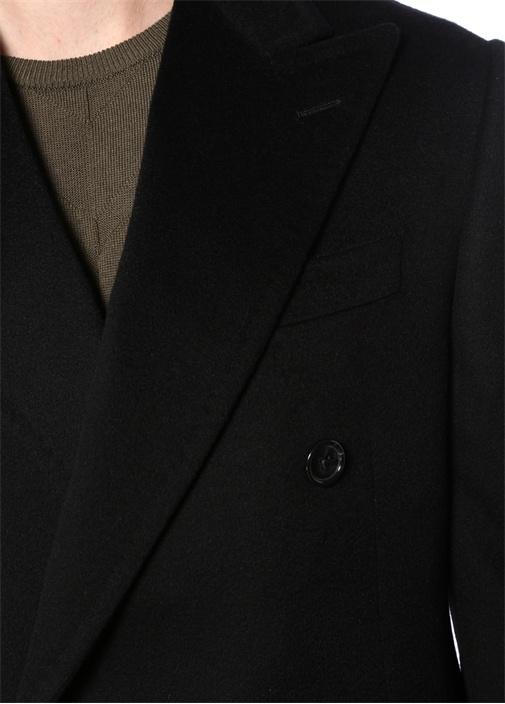 Drop 7 Siyah Kırlangıç Yaka Kaşmir Palto