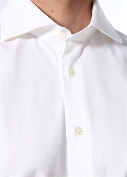 Drop 2 Beyaz Kesik Yaka Dokulu Gömlek