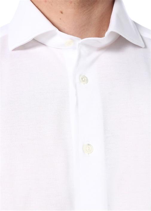 Drop 2 Beyaz Kesik Yaka Gömlek