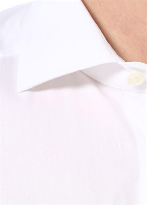 Drop 2 Beyaz İngiliz Yaka Düğme Kapatmalı Gömlek