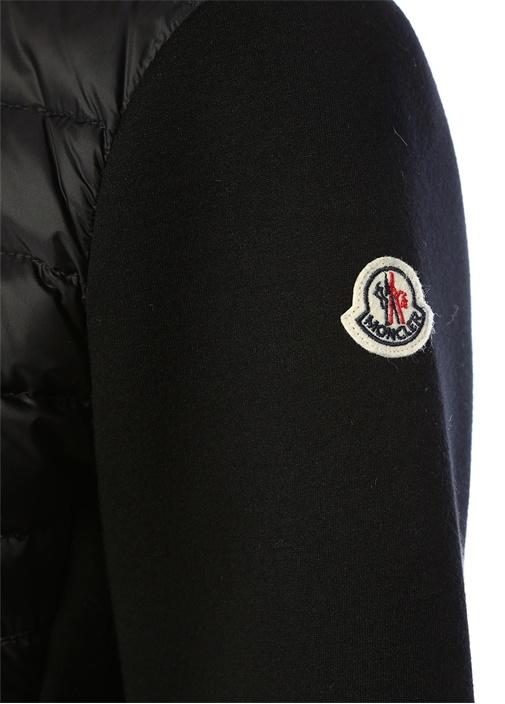 Siyah Asimetrik Fermuarlı Kapitoneli Ceket