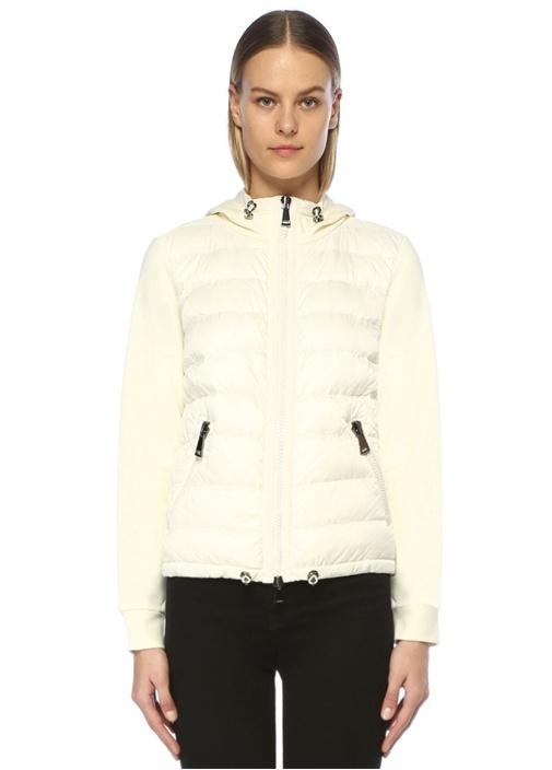Beyaz Kapüşonlu Kapitoneli Kolları Garnili Ceket