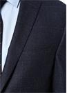Drop 7 Lacivert Ekose Desenli Yün Ceket