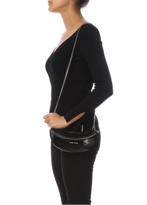 Siyah Payetli Silver Logolu Kadın Omuz Çantası