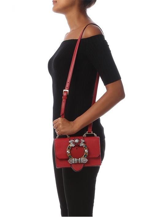 Madras Kırmızı Tokalı Kadın Deri Omuz Çantası