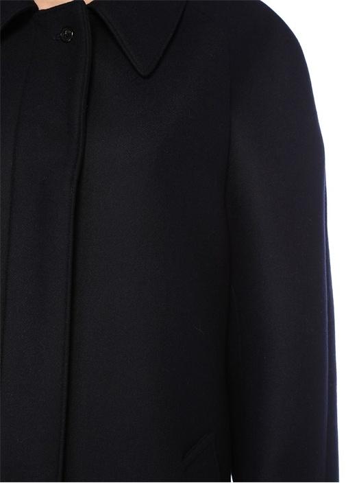 Lacivert Arkası Suni Kürk Detaylı Yün Palto
