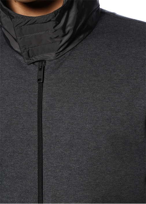 Siyah Antrasit Kapüşonlu Logolu Mont