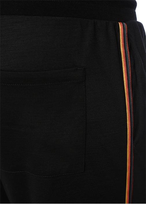Siyah Colorblocked Şeritli Dar Paça Eşofman Altı