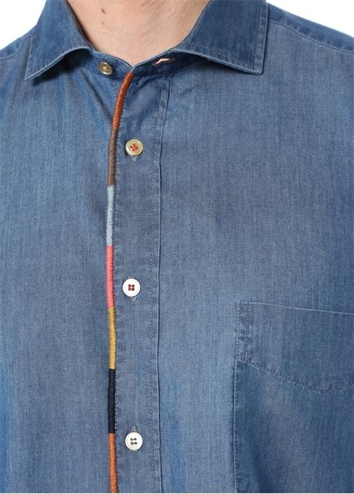Mavi İngiliz Yaka Kenarları Biyeli Gömlek
