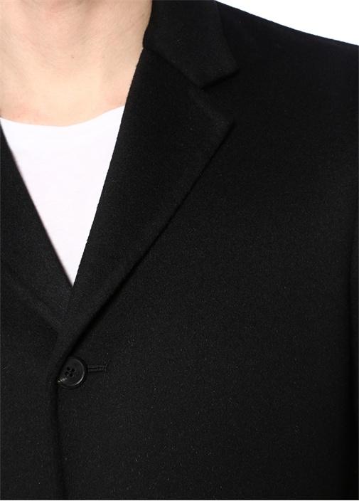 Siyah Kelebek Yaka Yün Palto
