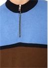 Kahverengi Mavi Dik Yaka Yün Triko Kazak